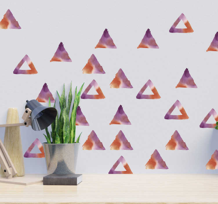 TenStickers. Watercolor Triangles wall decor. Our easy to apply adhesive wall sticker for teens room designed in geometric triangle form in water colour. You can chose the size that you prefer.