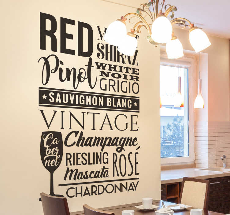 TenStickers. Wine lovers text wall decal. Easy to apply wall text sticker with the list and types of wine to enjoy in your home. You can apply this in the dinning space in any colour.