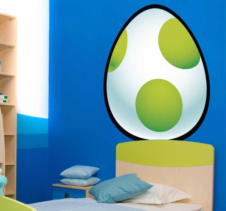 TenStickers. Sticker enfant oeuf Super Mario. Stickers représentant les œufs que l'on peut retrouver dans le jeu vidéo mythique de Nintendo, Super Mario Bros !