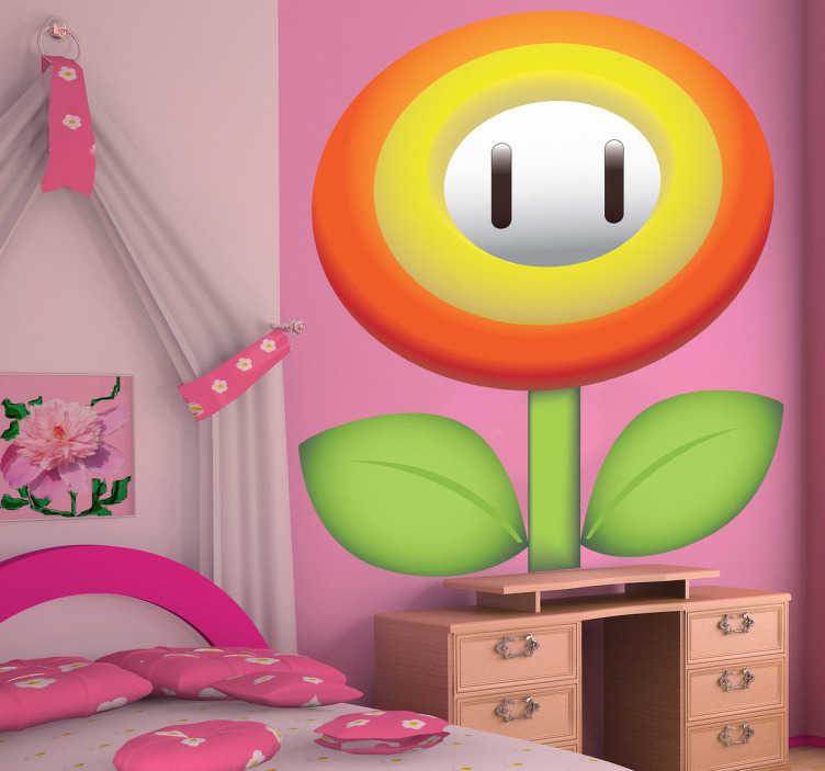 TenVinilo. Pegatina flor ovalada Supermario. Consigue tu flor de hielo y suma puntos con este Adhesivo de dibujos animados del famoso videojuego Super Mario Bros.