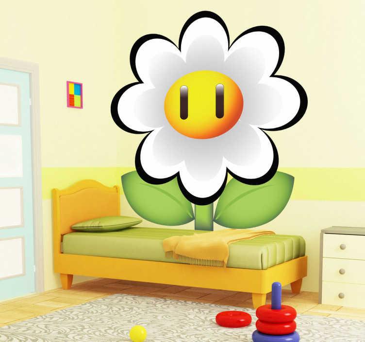 TenVinilo. Pegatina flor margarita de Mario Bros. Coge puntos con esta flor de fuego del famoso videojuego Super Mario Bros. Un Adhesivo de dibujo animado para los amantes de nintendo.