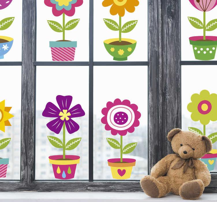 TenStickers. Huis bloemen zelfklevende raamsticker. Onze eenvoudig aan te brengen zelfklevende raamsticker om het raamoppervlak van de kinderkamer of baby te versieren. Het ontwerp bevat verschillende bloemen in bloempotten.