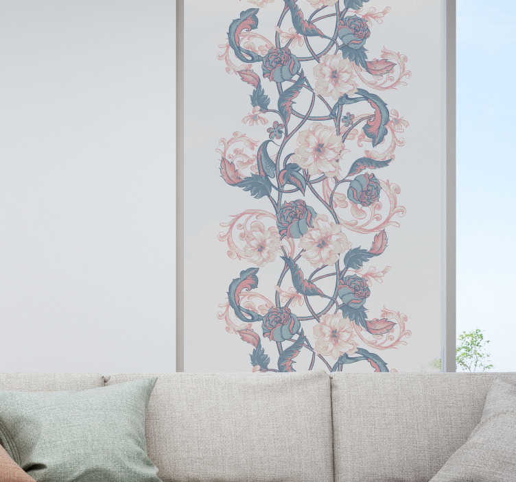 TenStickers. Magnolia flowers drawing window decal. Easy to apply decorative window decal for dinning space created with beautiful intertwined pattern magnolia flower that will transform window look.