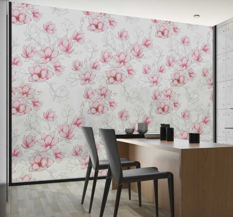 TenStickers. Magnolia flowers window decal. Decorate your window with our window vinyl decal of magnolia flower that is colourful on a translucent background to beautify the dinning space.