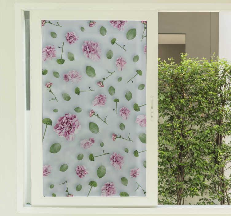 TenStickers. Sticker fenêtre plantes fleurs. Notre stickers de vinyle pour fenêtre facile à appliquer créé avec une fleur de plante pour décorer la fenêtre du salon pour ajouter une touche de beauté à la maison.
