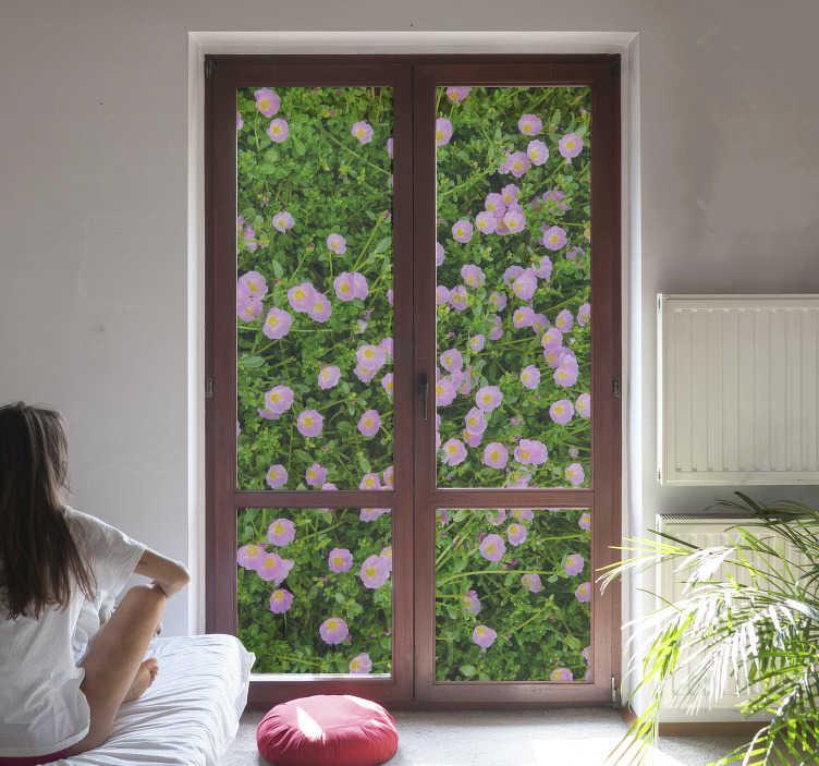 TenStickers. польские цветы окно наклейка. декоративная оконная наклейка с растением, созданным в виде сада с довольно красочными цветочными узорами, которые украсят окно.