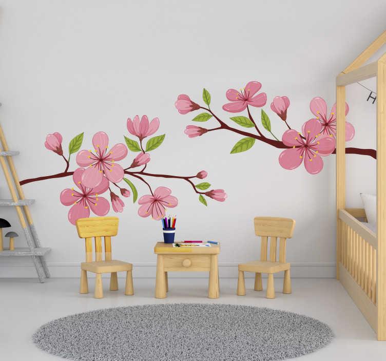 TenVinilo. Vinilo pared flor de primavera florida. Vinilo de pared de flor de primavera decorativo y fácil de aplicar de flores de primavera. Fácil de aplicar y medidas personalizables.