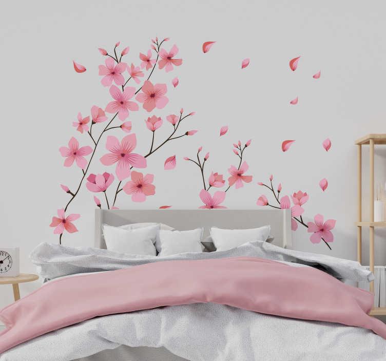 TenStickers. 布罗森春天花花墙装饰. 易于在卧室使用花墙贴花,粉红色的花朵盛开着粉红色的春天花朵,并带有其他颜色的点缀,以装饰卧室的墙面。