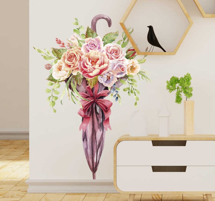 TenStickers. Decorative spring flower umbrella flower wall sticker. Easy to apply wall art sticker of a spring flower in an umbrella, knot with a ribbon like a girt that you will love on your living room wall .