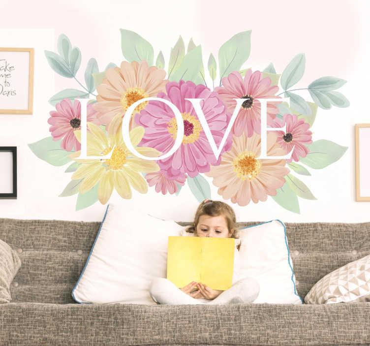 """TenStickers. 装饰春天的花朵爱墙贴花. 易于在您喜欢的小颜色上应用带有""""爱""""文字的花朵装饰墙贴花。您可以选择任意大小。"""