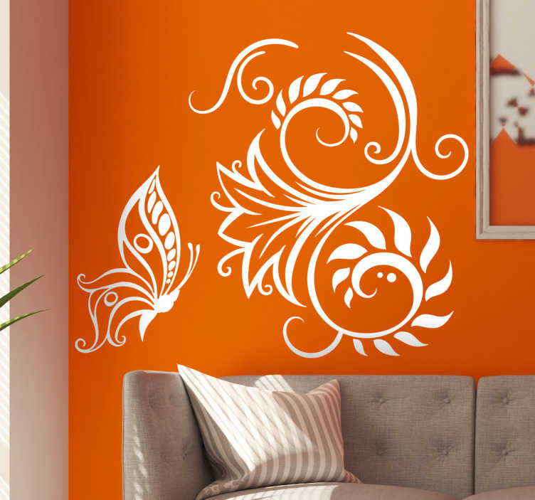 TenStickers. Elegant flower with butterflies butterfly wall sticker. Decorative and easy to apply wall decal of geometric pattern that you will love. You can have it in any colour of your choice .
