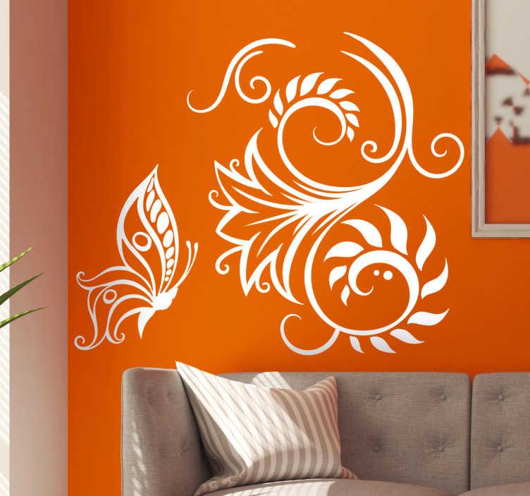 TenStickers. Elegante bloem met vlinders zelfklevende muursticker. Decoratief en gemakkelijk aan te brengen zelfklevende muursticker met geometrisch patroon waar je dol op zult zijn. Je kunt het in elke gewenste kleur hebben.