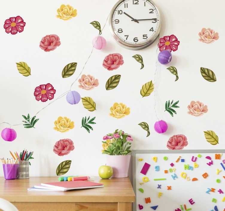 TenStickers. 꽃 휴가 세트 식물 벽 데칼. 십대 방을 위해 다른 화려한 꽃으로 만든 장식용 꽃 세트를 구입하십시오. 그것의 응용 프로그램은 매우 쉽고 원하는 크기를 선택할 수 있습니다.