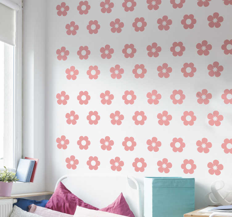 TenStickers. Flower pack flower wall decal. Easy to apply flower pack wall decal of pretty little floral for teens room that you can apply in any manner you like. You can also chose the colour.