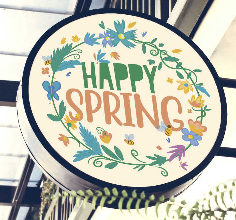 TenStickers. Happy spring crown with text  wall sticker. Easy to apply self adhesive decorative spring banner sticker with flower and the text '' happy spring '' you can apply it on nay flat surface.