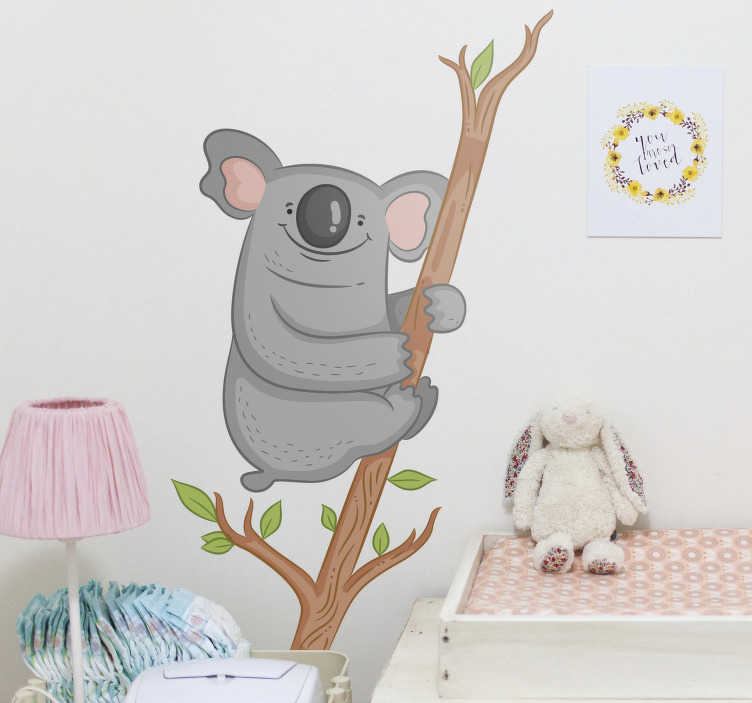 TenStickers. Art mural illustration de branche de koala. decoration murale pour chambre d'enfants d'un animal de koala facile à appliquer sur une branche d'arbre avec ce congé que vous aimerez et l'enfant l'admirera.