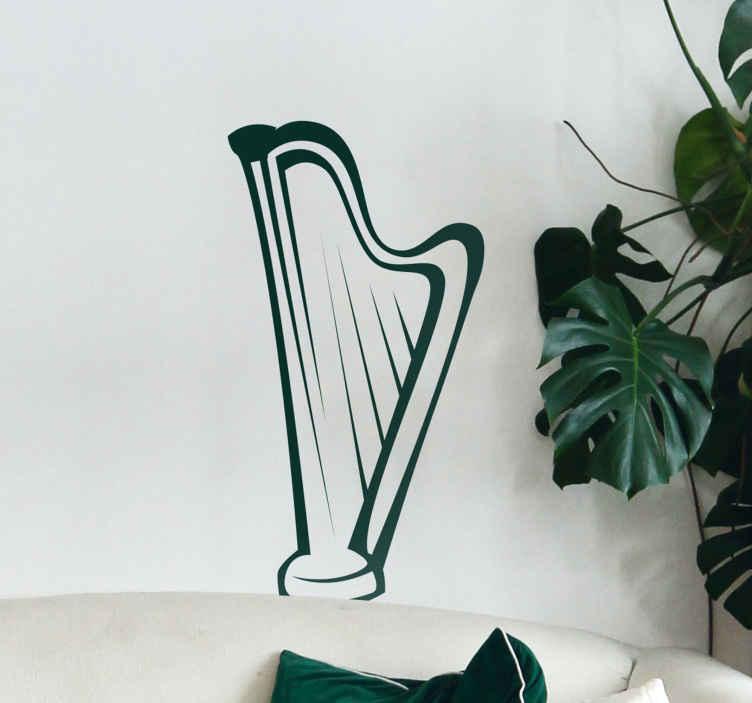TenStickers. Sticker silhouet harp muziek. Harp raamsticker van een harp in silhouet harp muursticker. De instrument raamsticker met een gezellige sfeer.  Instrument muurstickers in alle maten.