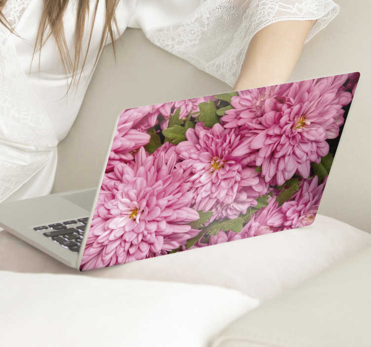 TenStickers. Pink floral spring laptop skin. Easy to apply adhesive laptop skin decal created with a floral of spring flower in pink that you will love. You can pick the size that best fits.