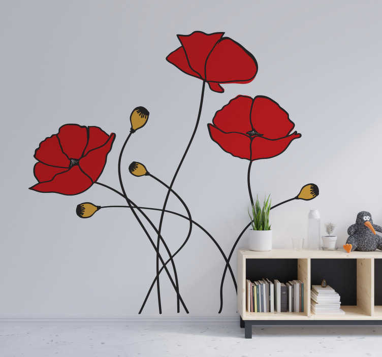 TenStickers. Poppy spring flower flower wall decal. Buy our easy to apply adhesive flower wall  art sticker of a spring flower that you will love on the surface of your wall.