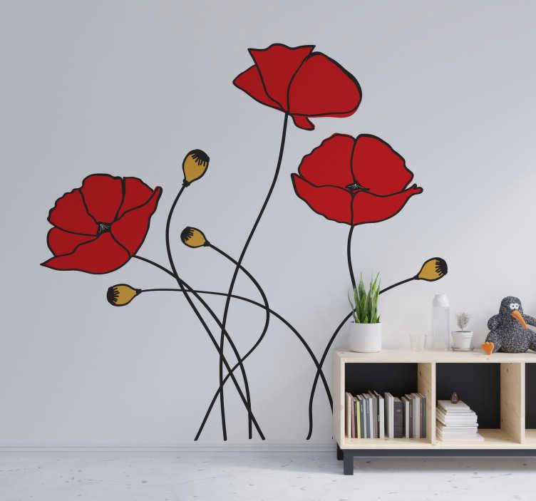 TenStickers. stickers muraux fleur de pavot fleur de printemps. Achetez notre stickers muraux adhésif fleur facile à appliquer d'une fleur de printemps que vous allez adorer sur la surface de votre mur.