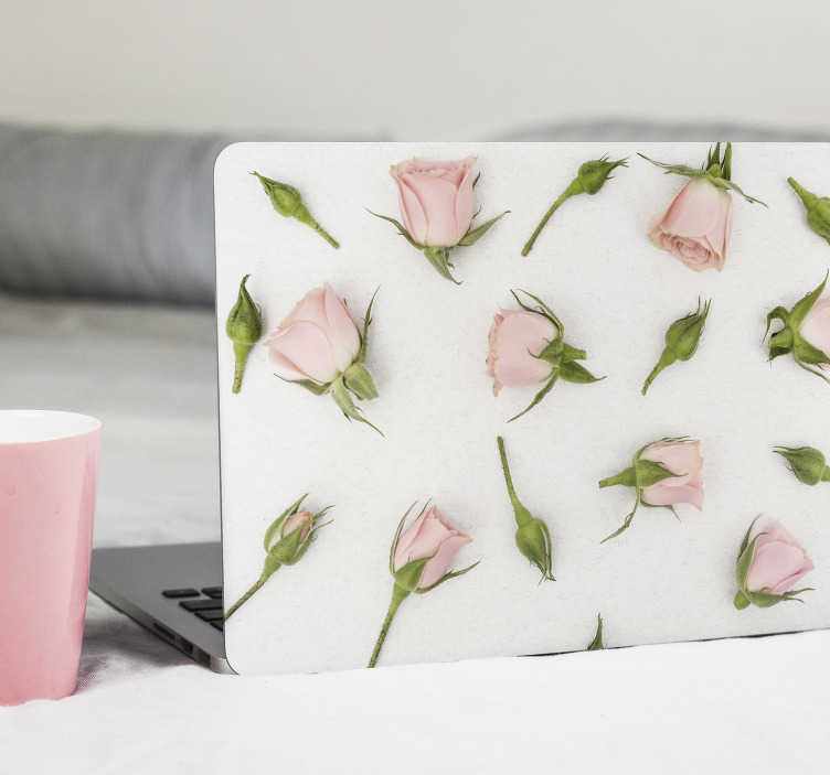 TenStickers. 浪漫春天的花朵笔记本电脑的皮肤. 易于应用的笔记本电脑和平板电脑的皮肤贴花,由春天浪漫的花朵粉红色制成。春天的设计令人着迷。