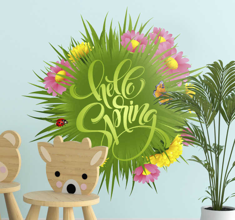 TenStickers. Spring field flower Childrens Bedroom wall decal. Adhesive kids bedroom wall decal of spring flower with text '' hello spring and beetle, butterfly in very beautiful colours. Easy to apply on surface.