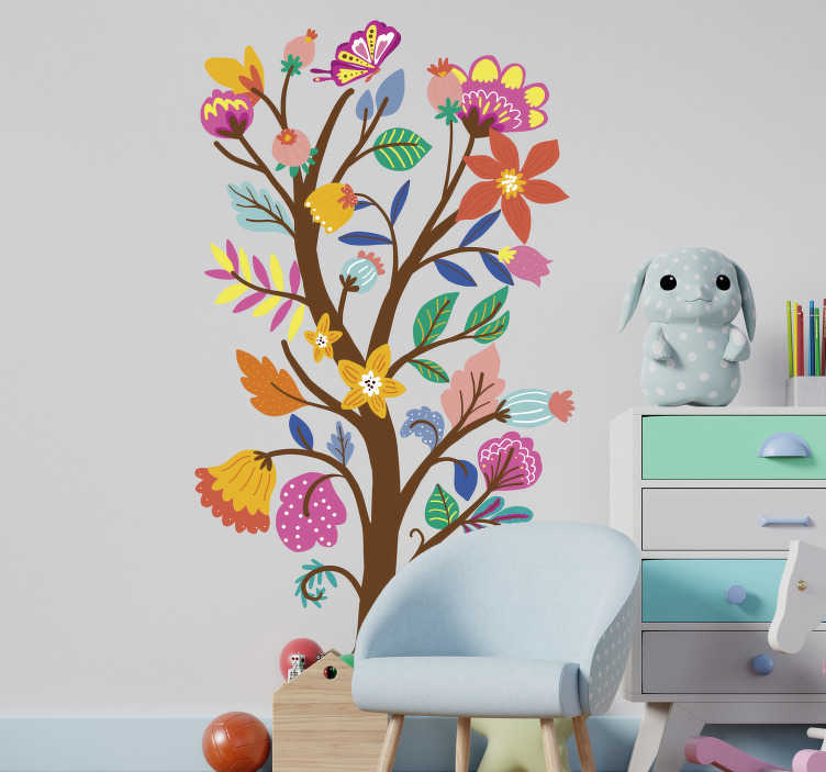 TenStickers. Spring flower and tree floral wall decal. Kids bedroom wall decal crated with spring flowers tree with branches in amazing attractive colour to create a pretty atmosphere for your child.