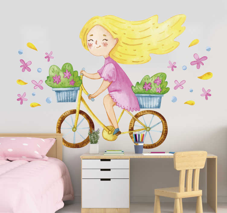 TenStickers. Spring flower bike illustration wall art. Easy to apply illustrative children wall decal created with a pretty spring flower bike with a little girl riding on it.