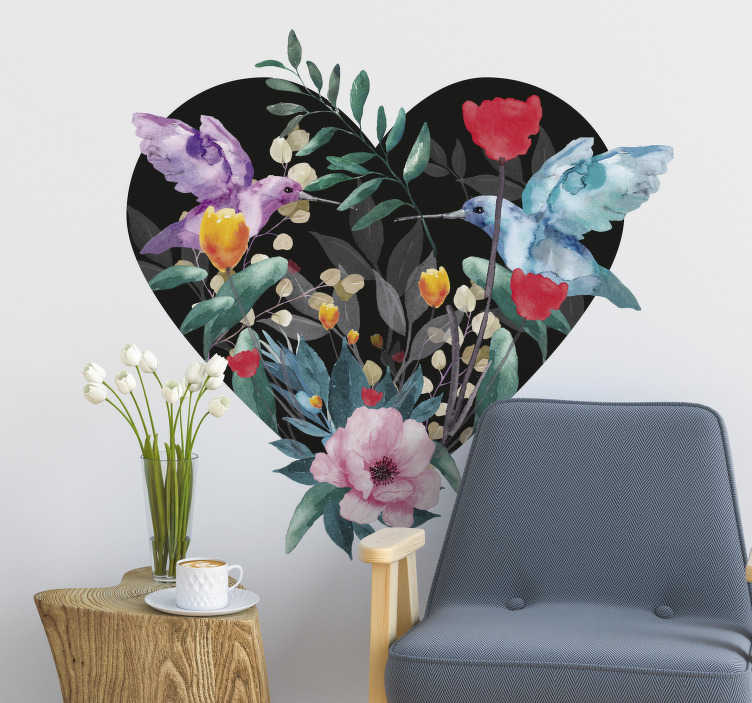 TenStickers. Spring flower bird floral wall decal. Self adhesive spring flower  wall sticker created on a heart shape with birds in beautiful colours that will beautify the living room wall surface.