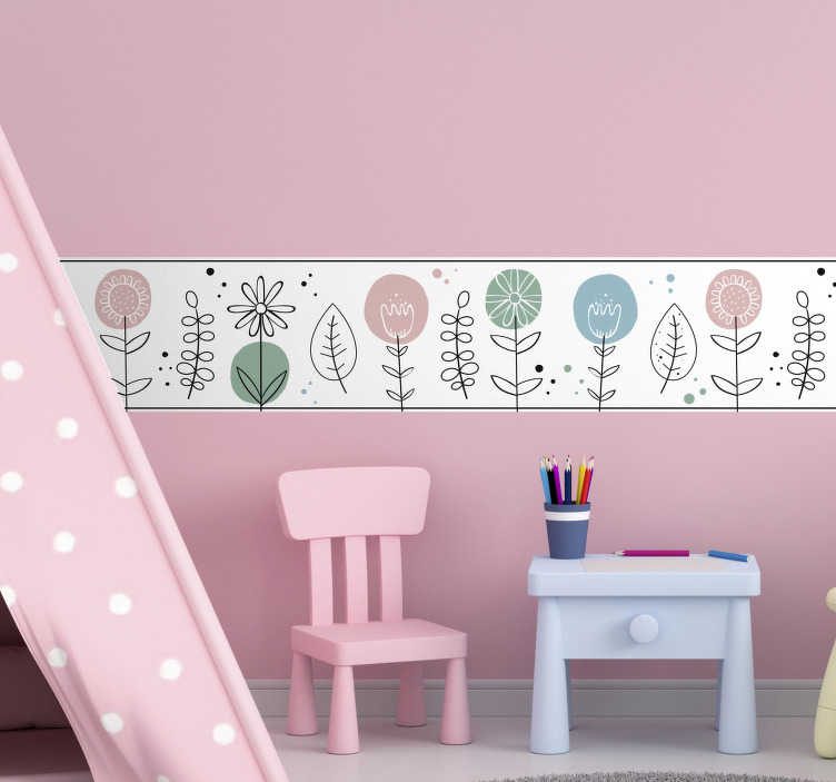 TenStickers. Spring flower for kids border sticker. Easy to apply adhesive wall decal boarder created with flower ornament for kids bedroom. This design is contained flowers,leaves and special features.
