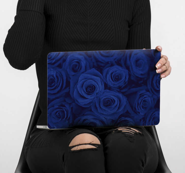 TenStickers. Spring flower for laptop  skin. Easy to apply laptop skin decal created with spring rose flower in deep blues colour that you will love to the admiration of your friends.