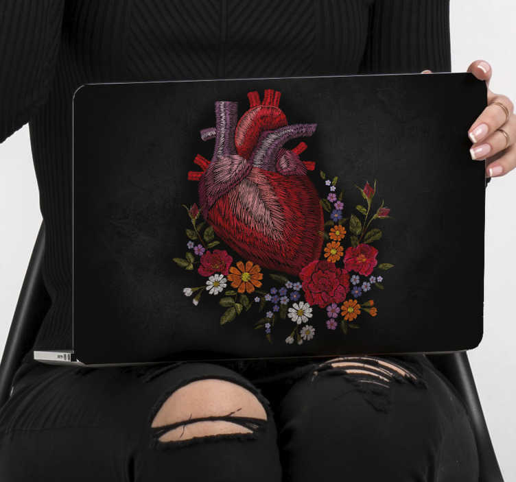 TenStickers. Spring flower heart laptop skin. Easy to apply  laptop decal of spring flower with a heart that shows all it vessel channels in multi colour but red taking dominance to portray love.