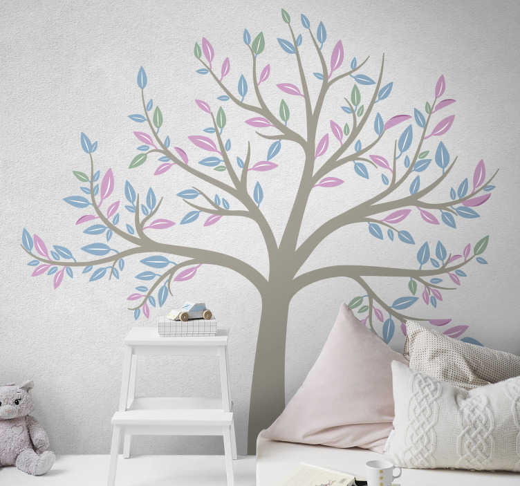 TenStickers. Spring garden tree wall decal. Easy to apply adhesive wall art decal of a spring tree garden in beautiful colour to decorate the bedroom of children. You can chose a preferred size.