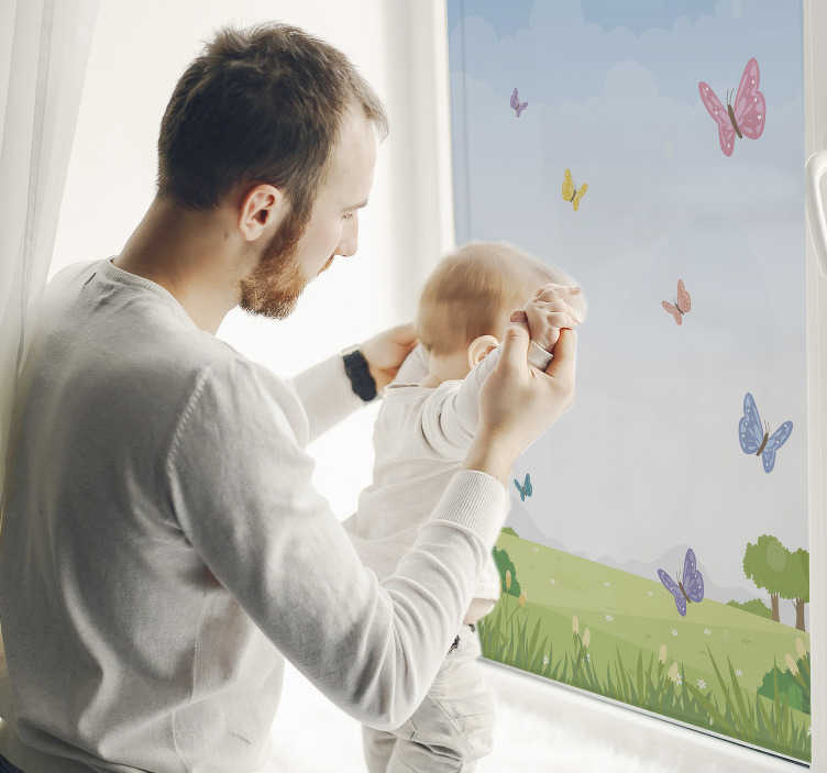 TenStickers. Spring grass butterfly window decal. Easy to apply adhesive wall decal of butterflies with spring grasses to decorate the bedroom of your child. You can pick your choice of size.