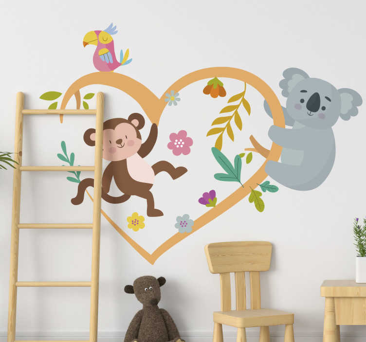 TenStickers. spring koala and monkey tree branch animal wall sticker. Buy this easy to apply adhesive children bedroom wall sticker of koala and monkey playing on a heart shape with flowers .