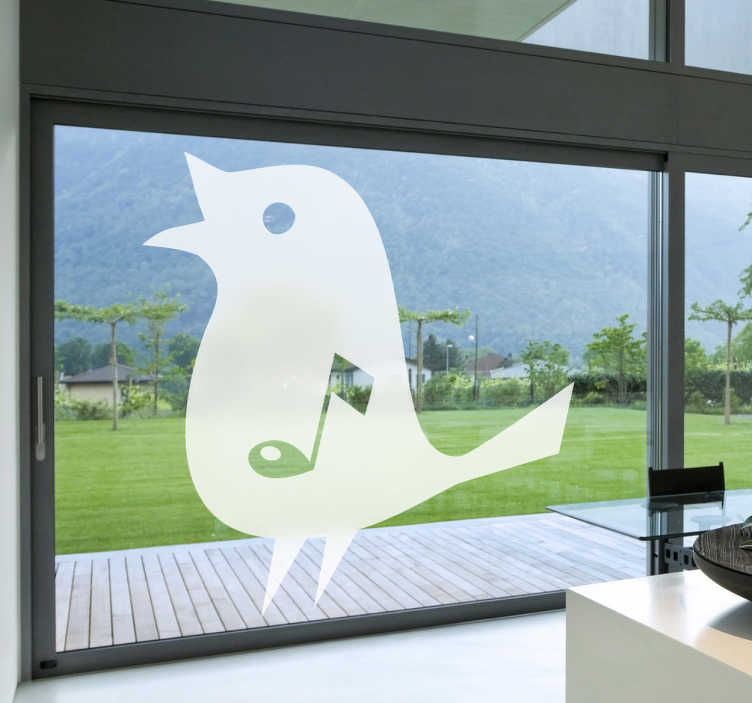 TenStickers. 音符歌鸟窗口贴纸. 窗户贴纸 - 适合您的窗户。设计有一个音符在其中心的鸣禽。有各种尺寸可供选择。