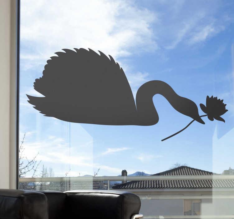 TenStickers. Schwan mit Blume Aufkleber. Ein schöner Schwan mit einer Blume im Schnabel - dekorieren Sie Ihr Fenster mit diesem eleganten Aufkleber Design.