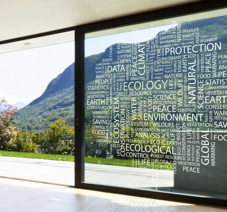 TenStickers. Ecology Concepts Text Wall Sticker. Wall Stickers - Text wall art of the concepts of the study ecology.  Available in various sizes and in 50 colours. Long lasting decals.