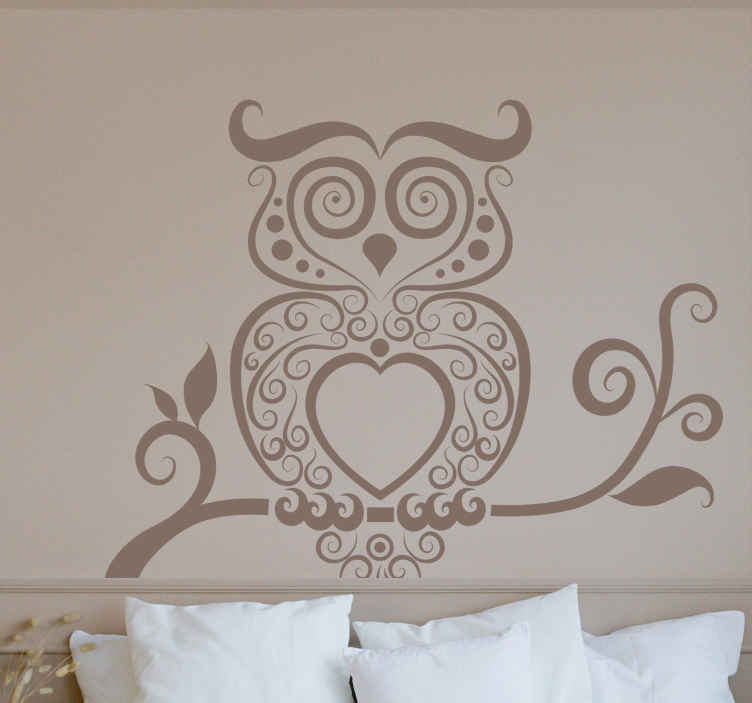 TenStickers. Adhésif mural motifs hibou. Décorez les surfaces vitrées de votre intérieur avec ce stickers représentant un hibou réalisé à partir de motifs divers.Une jolie idée pour une décoration d'intérieur originale.