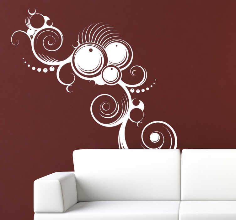 TenStickers. Sticker modern abstract. Een uiterst decoratieve muursticker toepasselijk op vrijwel elk vlak. Dit ontwerp omtrent een moderne muurschildering met drie abstracte cirkels.
