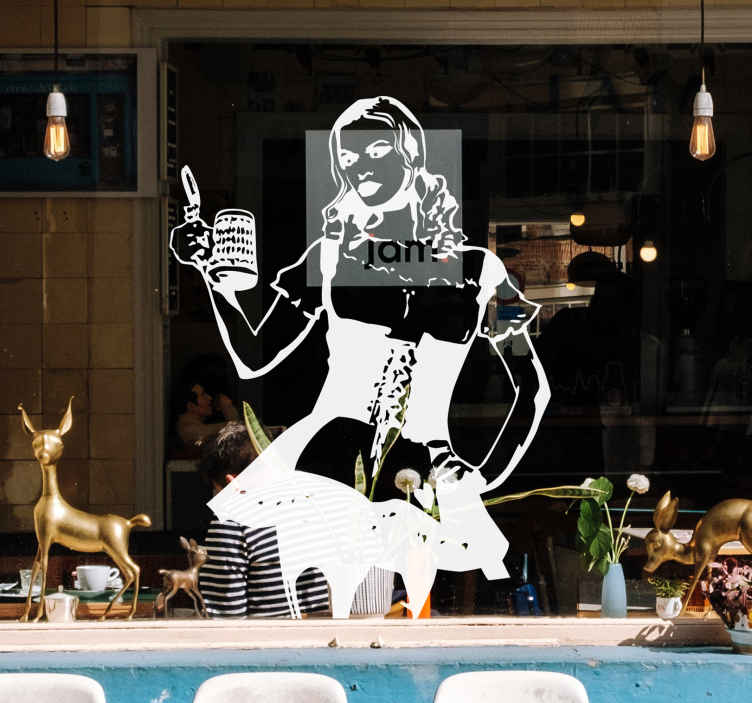 TenStickers. Waitress with Beer Sticker. Decal of a beautiful woman wearing a traditional uniform for waitresses carrying a pint of beer.