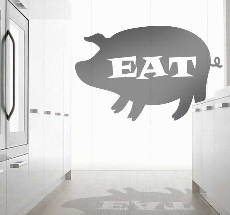 "TenStickers. EAT Pork Decal. Decals -Silhouette illustration of a pig with the work ""EAT"" in the centre. Ideal for the windows of restaurants and butcher shops."