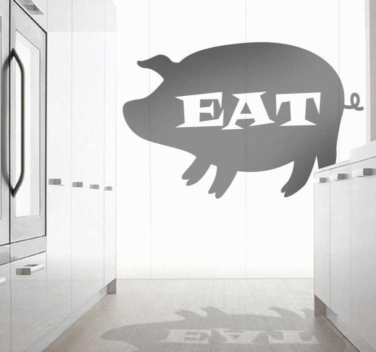 """TenStickers. Sticker cuisine manger cochon. Sticker conçu pour les surfaces vitrées de vote cuisine. La silhouette d'un cochon avec en message central et en anglais : """"EAT"""", une manière originale de décorer votre espace cuisine."""