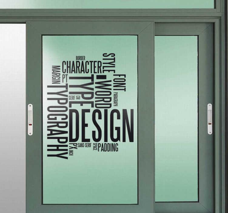 TenVinilo. Vinilo decorativo conceptos diseño. Adhesivo cosmopolita y moderno para decoración de cristaleras con palabras utilizadas en el mundo del diseño.