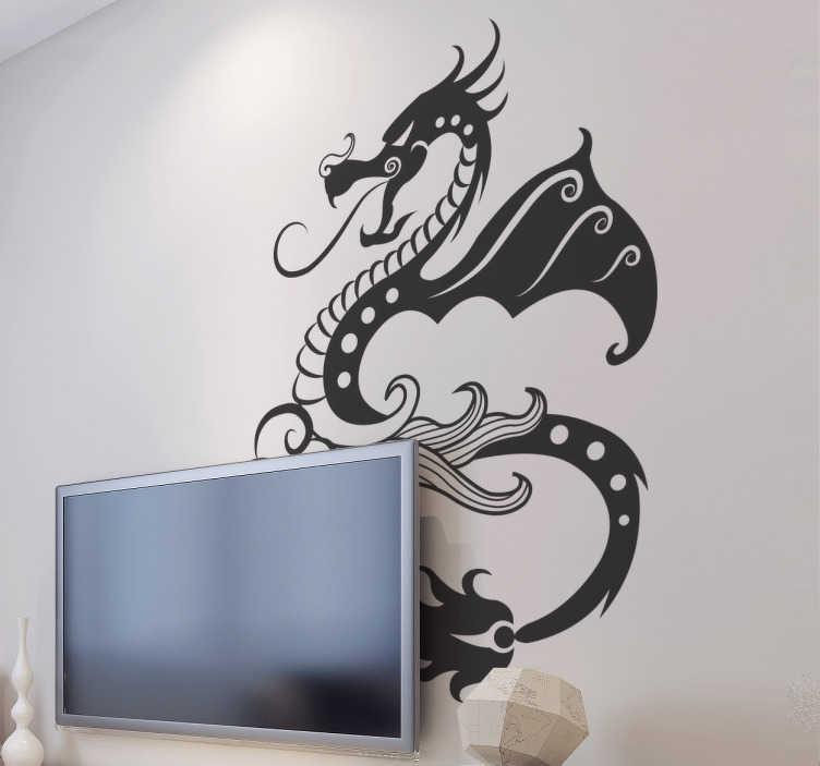 TenStickers. Sticker boosaardige draak. Deze sticker illustreert een boosaardige draak in een bijzonder ontwerp. Het brengt dan ook een toonaangevende sfeer met zich mee.