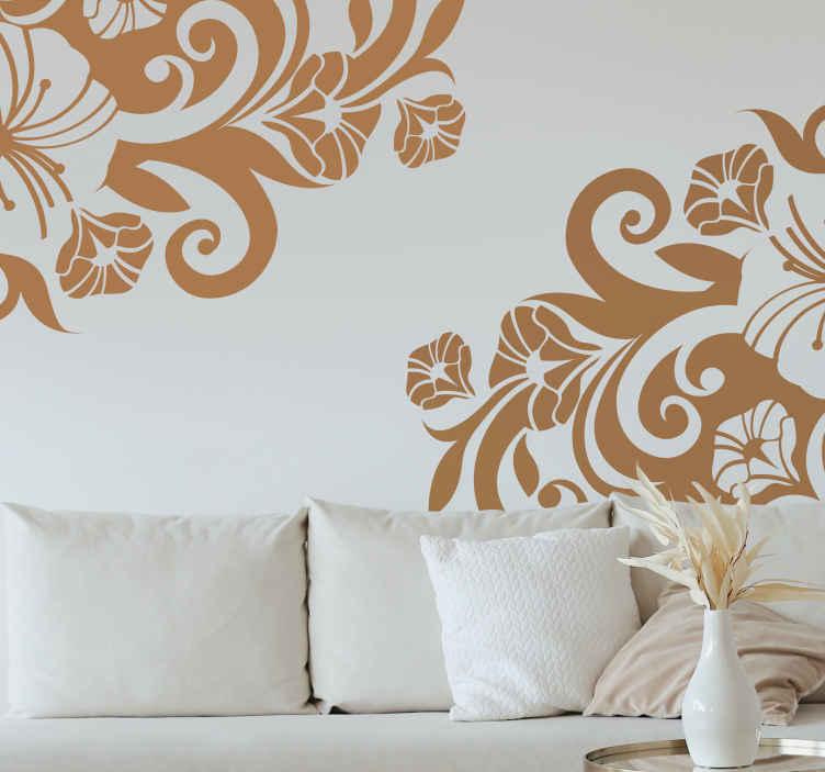 TenStickers. Naklejka ornament z kwiatami. Naklejka dekoracyjna przeznaczona do umieszczenia na szybie. Przyciągająca uwagę naklejka przedstawiająca dwa narożne ornamenty kwiatowe dostępne w różnych kolorach.