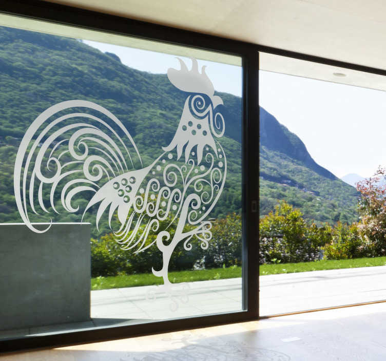 TenStickers. Sticker decorativo galletto astratto. Wall sticker che raffigura un gallo un po' alternativo, interpretato in chiave astratta. Una decoraziona moderna ed originale per le pareti di casa.