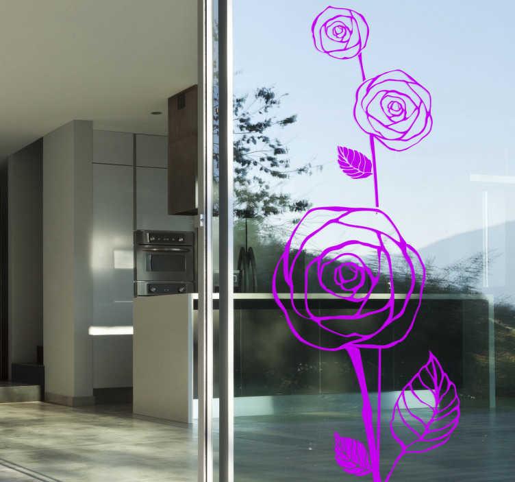 TENSTICKERS. 花の輪郭を描くバラ. 3つのバラの輪郭を示すエレガントな花の壁のステッカー。あなたの家のための花の壁のステッカーの私達のコレクションからの華麗なモノクロデカール。この独特の花デカールは、植物や自然を愛する人に最適です!