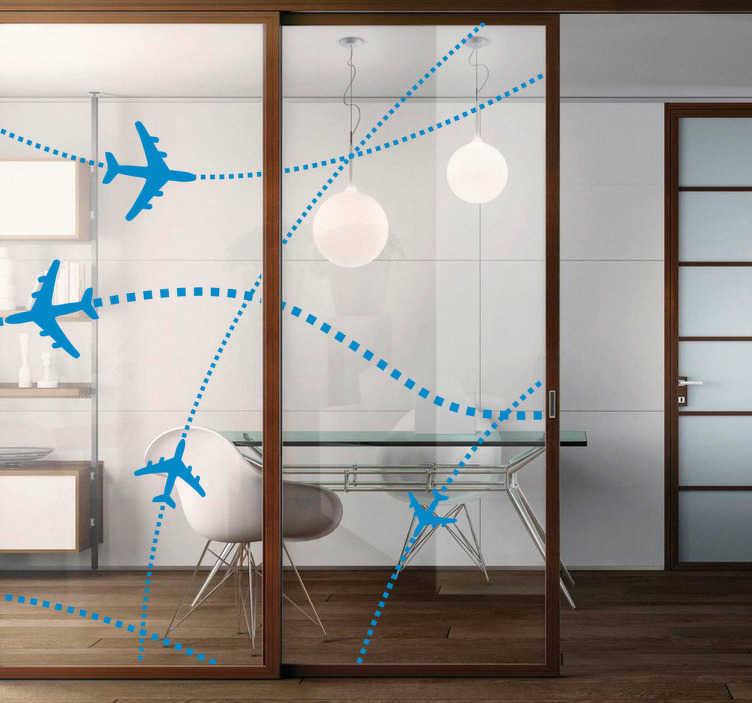 TenStickers. Sticker vliegtuigen routes. Een leuke set muurstickers  van 4 vliegtuigen, de vluchtroute die de vliegtuigen volgen zijn aangegeven met behulp van stippen.