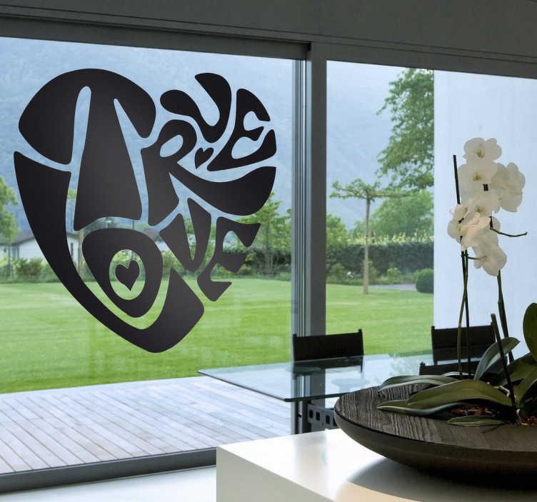 """TenStickers. Vinil decorativo true love. Vinil decorativo ideal para janelas e paredes, com texto """"true love"""" (amor verdadeiro) em formato de coração."""